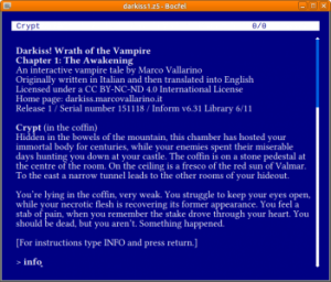 Darkiss! Wrath of the Vampire, a text adventure by Marco Vallarino
