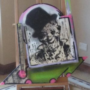 Grock in un ritratto dello street artist Omar Peruzzi